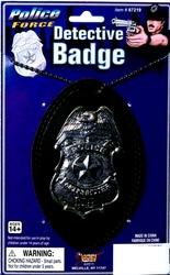POLICIERS ET BANDITS -  BADGE DE DÉTECTIVE AVEC CHAINE - ARGENT