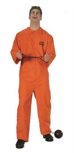 POLICIERS ET BANDITS -  COSTUME DE PRISONNIER, ORANGE (ADULTE - TAILLE UNIQUE)