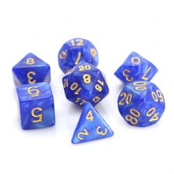 POLY RPG DICE SET -  BLUE SWIRL WITH GOLD -  DIE HARD