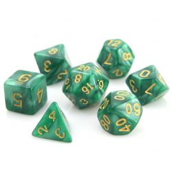 POLY RPG DICE SET -  GREEN SWIRL WITH GOLD -  DIE HARD