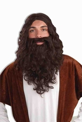 PRÊTRES ET RELIGIEUSES -  PERRUQUE ET BARBE DE JESUS - BRUNE (ADULTE)