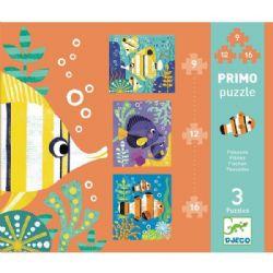 PRIMO PUZZLE -  POISSONS (3 PUZZLE DE 9,12,16 PIÈCES) - 3 ANS+