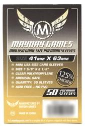 PROTECTEURS DE CARTE -  POCHETTES POUR JEU GRANDEUR MINI USA PLUS EPAIS (50) (41 MM X 63 MM) -  MAYDAY GAMES