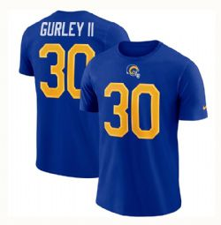 RAMS DE LOS ANGELES -  T-SHIRT DE TODD GURLEY II #30 - BLEU ROYAL PROFOND