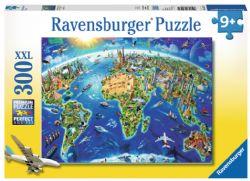 RAVENSBURGER -  CARTE DES MONUMENTS DU MONDE (300 PIÈCES XXL) - 9 ANS+