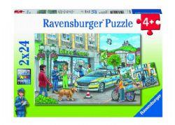 RAVENSBURGER -  EN ROUTE AVEC LE CHEF DE POLICE (2X24 PIÈCES) - 4 ANS+