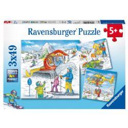 RAVENSBURGER -  SUR LES PISTES DE SKI (3X49 PIÈCES) - 5 ANS+
