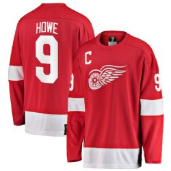 RED WINGS DE DETROIT -  CHANDAIL RÉPLIQUE HÉRITAGE GORDIE HOWE #9 ROUGE