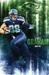 SEAHAWKS DE SEATTLE -  AFFICHE JIMMY GRAHAM 2015 (56 CM X 86.5 CM)