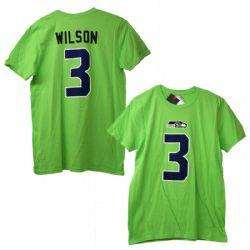 SEAHAWKS DE SEATTLE -  T-SHIRT RUSSELL WILSON #3 VERT