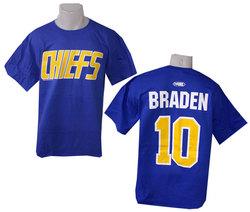 SLAP SHOT -  T-SHIRT NED BRADEN #10 - BLEU