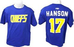 SLAP SHOT -  T-SHIRT STEVE HANSON #17 - BLEU