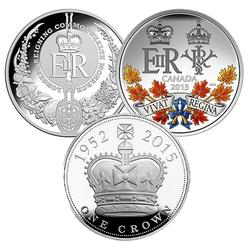 SOUVERAIN AU PLUS LONG REGNE -  ENSEMBLE DE TROIS PIÈCES - UN RÈGNE HISTORIQUE -  PIÈCES DU CANADA, ROYAUME-UNI ET AUSTRALIE 2015