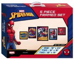 SPIDER-MAN -  SPIDER-MAN - ENSEMBLE DE 5 IMAGES ENCADRÉES