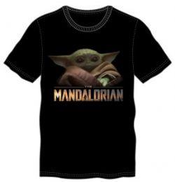 STAR WARS -  BÉBÉ YODA T-SHIRT - MANDALORIAN (NOIR) (ADULTE) -  THE MANDALORIAN