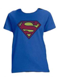 SUPERMAN -  T-SHIRT LOGO - BLEU (FEMME)