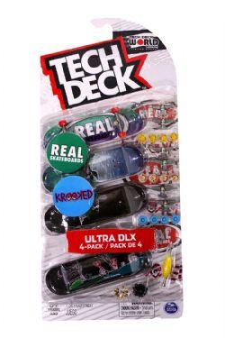 TECH DECK -  ULTRA DLX - PAQUET DE 4 (REAL SKATEBOARDS + KROOKED)