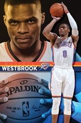 THUNDER D'OKLAHOMA CITY -  AFFICHE RUSSELL WESTBROOK 2015 (56 CM X 86.5 CM)