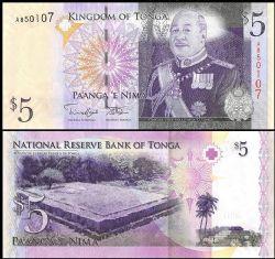 TONGA -  5 PA'ANGA 2008 (UNC)