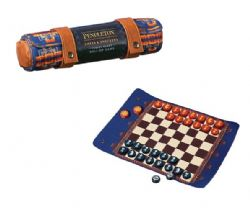 TRAVEL-READY ROLL-UP GAME -  PENDLETON CHESS & CHECKERS SET