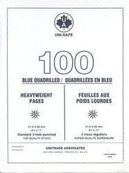 UNI-SAFE -  FEUILLES QUADRILLEES UNISAFE EN BLEU POIDS LOURDS (PAQUET DE 100)