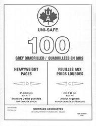 UNI-SAFE -  FEUILLES QUADRILLEES UNISAFE EN GRIS POIDS LOURDS (PAQUET DE 100)
