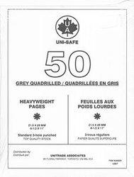 UNI-SAFE -  FEUILLES QUADRILLEES UNISAFE EN GRIS POIDS LOURDS (PAQUET DE 50)