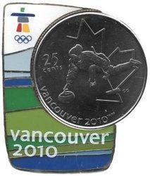 VANCOUVER 2010 -  ÉPINGLETTE MAGNÉTIQUE AVEC PIÈCE DU CURLING -  PIÈCES DU CANADA 2007