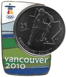 VANCOUVER 2010 -  ÉPINGLETTE MAGNÉTIQUE AVEC PIÈCE DU HOCKEY SUR GLACE -  PIÈCES DU CANADA 2007