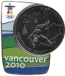 VANCOUVER 2010 -  ÉPINGLETTE MAGNÉTIQUE AVEC PIÈCE DU SKI ACROBATIQUE -  PIÈCES DU CANADA 2008