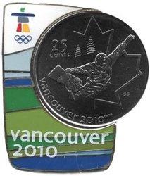 VANCOUVER 2010 -  ÉPINGLETTE MAGNÉTIQUE AVEC PIÈCE DU SURF DES NEIGES -  PIÈCES DU CANADA 2008