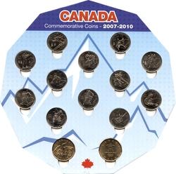 VANCOUVER 2010 -  ENSEMBLE DE 14 PIÈCES 2007-2010 - BRILLANT INCIRCULE (BU) -  PIÈCES DU CANADA 2007