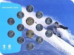 VANCOUVER 2010 -  ENSEMBLE OFFICIEL DES PIÈCES DES JEUX OLYMPIQUES 2007-2010 (SKIEUR) -  PIÈCES DU CANADA 2007