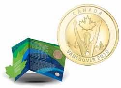 VANCOUVER 2010 -  MÉDAILLON CÉLÉBRANT LA PREMIÈRE MÉDAILLE D'OR EN SOL CANADIEN -  PIÈCES DU CANADA 2010