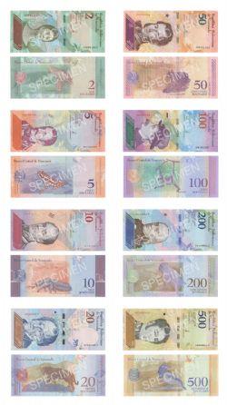 VENEZUELA -  ENSEMBLE DE 8 DIFFÉRENTS BILLETS DE 2018 (UNC)