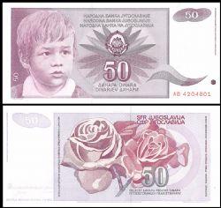 YOUGOSLAVIE -  50 DINARA 1990 (UNC)