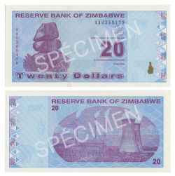 ZIMBABWE -  20 DOLLARS 2009 (UNC)