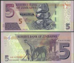 ZIMBABWE -  5 DOLLARS 2019 (UNC)