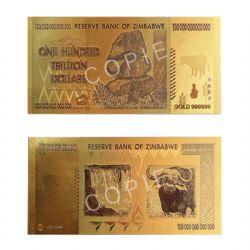 ZIMBABWE -  COPIE DU BILLET DE 100 TRILLION DE DOLLARS 2008 DU ZIMBABWE (PLAQUÉ EN OR PUR)