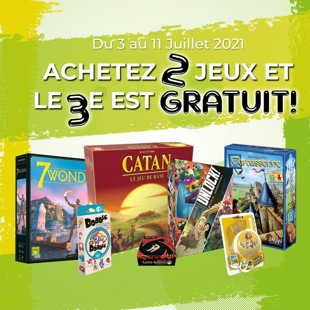 Buy 2 selected board games and get the third one for free!